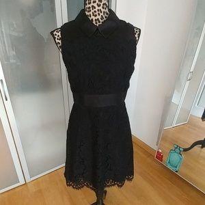 Kate Spade black floral lace satin a line dress